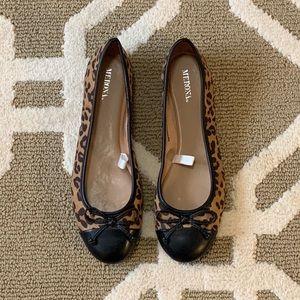 Faux Leopard Print Ballerina Flats - Size 8